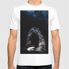 Nature Night Sky - Vintage Black and White Delicate Arch at Arches National Park Utah Mens Fitted Tee White MEDIUM
