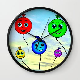 Happy colorful balloons flying in the sky Wall Clock