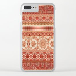 Ornate Moroccan in Red Clear iPhone Case
