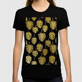 Golden Monstera Leaf Drawing Pattern T-shirt