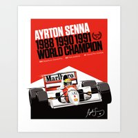 senna Art Prints featuring Ayrton Senna x McLaren by Sean Kane Design