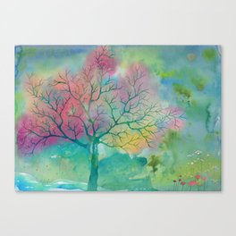 Colorful Spring Magic Tree painting Canvas Print