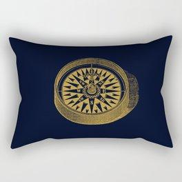 The golden compass I- maritime print with gold ornament Rectangular Pillow