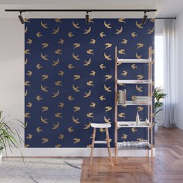 Gold Flying Birds Seamless Pattern on Navy Blue background Wall Mural