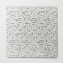 Watercolour shark pattern on pale blue Metal Print
