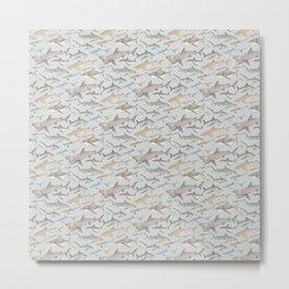 Watercolour shark pattern on pale blue Metal Print