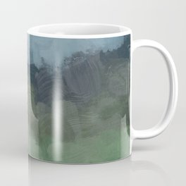 Blue Gray Stormy Clouds Grass Green Forest Abstract Nature Rustic Painting Art Print Wall Decor  Coffee Mug