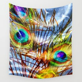 Pavo Feathers Under Water Wall Tapestry