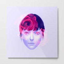 Roses - Pink on blue Metal Print