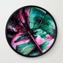 Aquarell Plant Stromanthe Sanguinea Wall Clock