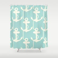 anchors Shower Curtains featuring Anchors Away! by PatternInk