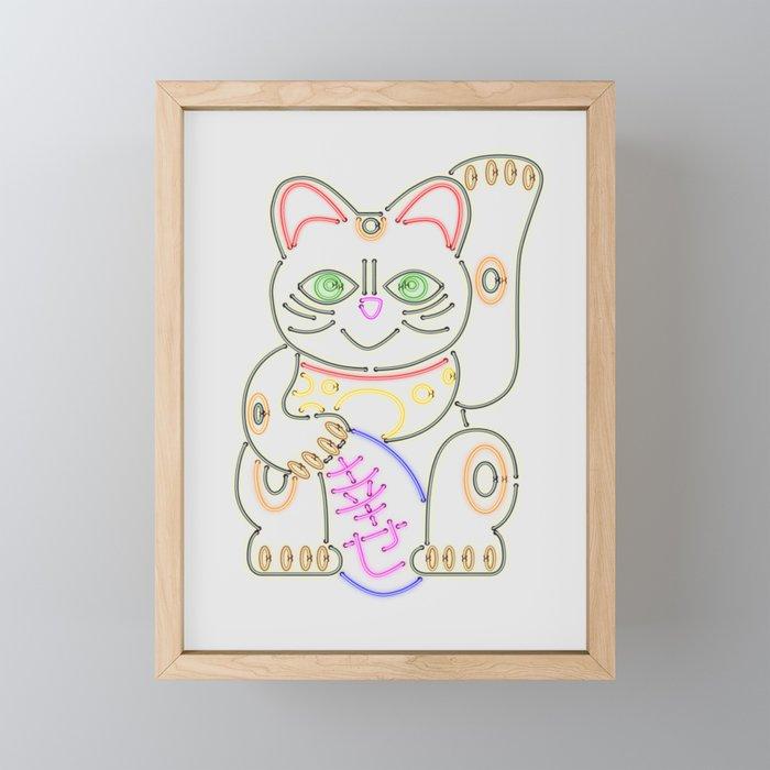 Maneki-Neko Neon – Good Luck Framed Mini Art Print