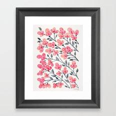 Cherry Blossoms – Pink & Black Palette Framed Art Print