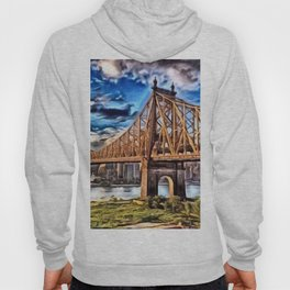 59th Street Bridge, New York City Skyline Landscape Painting by Jeanpaul Ferro Hoody