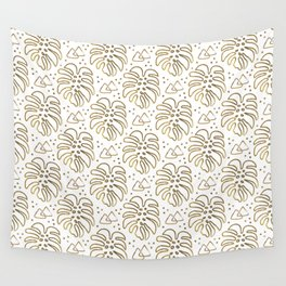 Gold Monstera on White Wall Tapestry