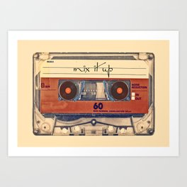 Mash Up Mixtape Vintage Record Player Cassette Tape Hybrid Art Print
