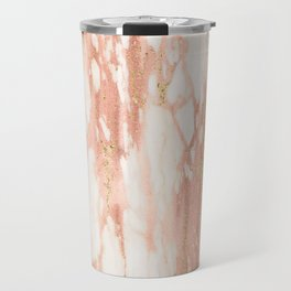 Rose Gold Marble - Rose Gold Yellow Gold Shimmery Metallic Marble Travel Mug