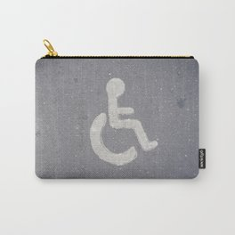 Wheelchair sign icon on asphalt gray street road Carry-All Pouch