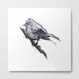 Bird Handmade Drawing, Art Sketch, Uccellino, Illustration Metal Print