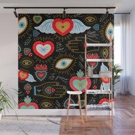 Milagro Love Hearts - Black Wall Mural