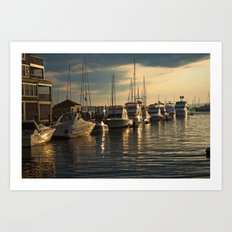 Boats Docked At Sunset Art Print