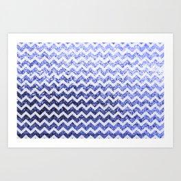 Glitter Sparkly Bling Chevron Pattern (blue) Art Print