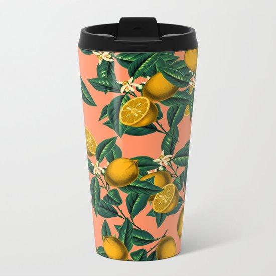 Lemon and Leaf Metal Travel Mug