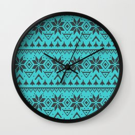 Knitted Christmas pattern retro 4 Wall Clock