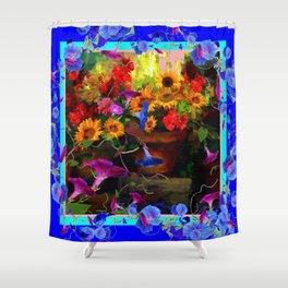 Blue Morning Glories Floral Still life Shower Curtain