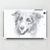 border collie iPad Cases featuring Border Collie Sketch by R.A.Desilets