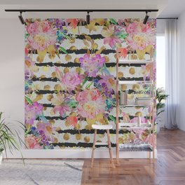 Elegant spring flowers and stripes design Wall Mural