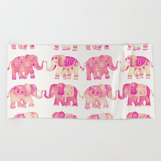 Pink Elephants Beach Towel