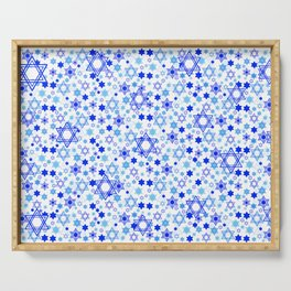 Dynamic Blue Stars of David Pattern Serving Tray