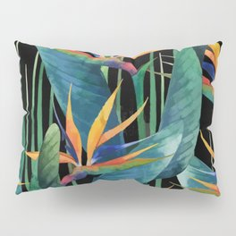 Watercolor Painting Tropical Bird of Paradise Plants large Pillow Sham