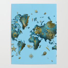 world map vintage decor blue Poster