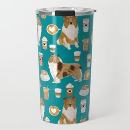 Rough Collie coffee pet portrait dog art by pet friendly latte coffee dog lover gifts Travel Mug