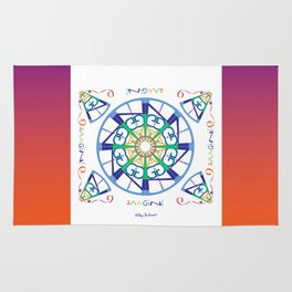 Imagine from the Inside - White/Orange Pink Rug