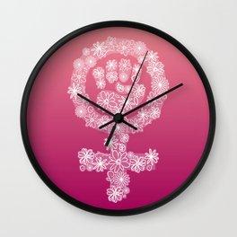 FEMINIST FLORAL FIST Wall Clock