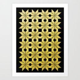 Golden Snow, Snowflakes #02 Art Print