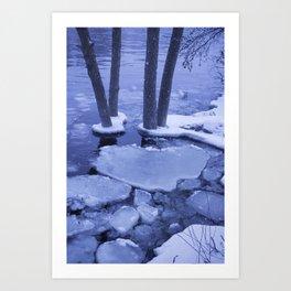 Ice Floes Crash And Creep At Edge Of The Otonabee River. Art Print