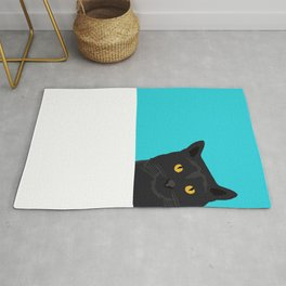 Black Cat peeking around the corner funny cat person gift for cat lady hipster black cat ironic art Rug