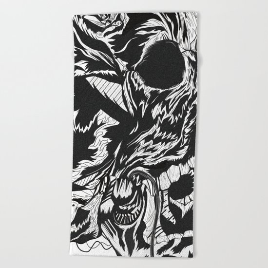 Skull Moustache Beach Towel