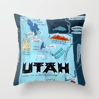 utah Throw Pillows featuring UTAH by Christiane Engel