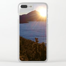 Sunset Canary Islands forest and Volcano Teide in Tenerife Clear iPhone Case