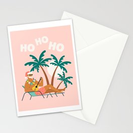 Hot Santa on vacation Stationery Cards