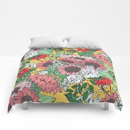 Pretty aspen gold and pink floral design Comforters