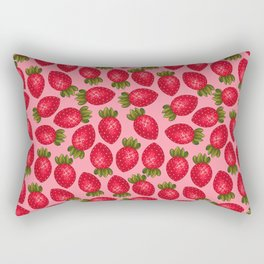 Strawberry Print - Pink BG Rectangular Pillow