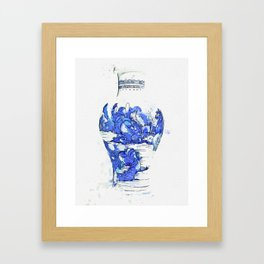A BLUE AND WHITE 'LANDSCAPE' VASE QING DYNASTY, KANGXI PERIOD 2 watercolor by Ahmet Asar Framed Art Print