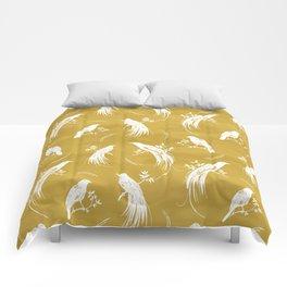 Birds of paradise mustard/white Comforters