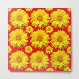 "YELLOW COREOPSIS ""TICK SEED"" FLOWERS RED PATTERN Metal Print"